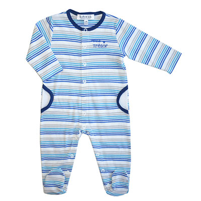 Pyjama été petit trésor rayé bleu Bulle de bb