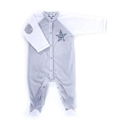 Pyjama hiver petit ange gris blanc Bulle de bb