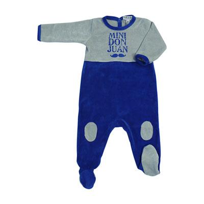 Pyjama hiver mini don juan bleu roi gris Bulle de bb