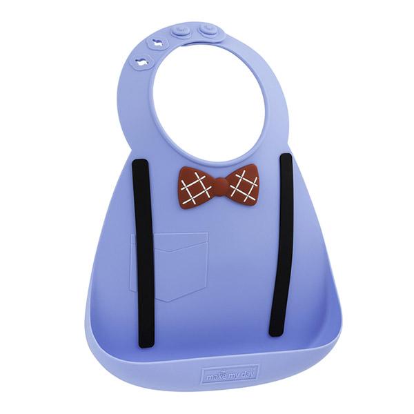 Bavoir en silicone souple effet nœud pap' et bretelles bleu Bulle de bb