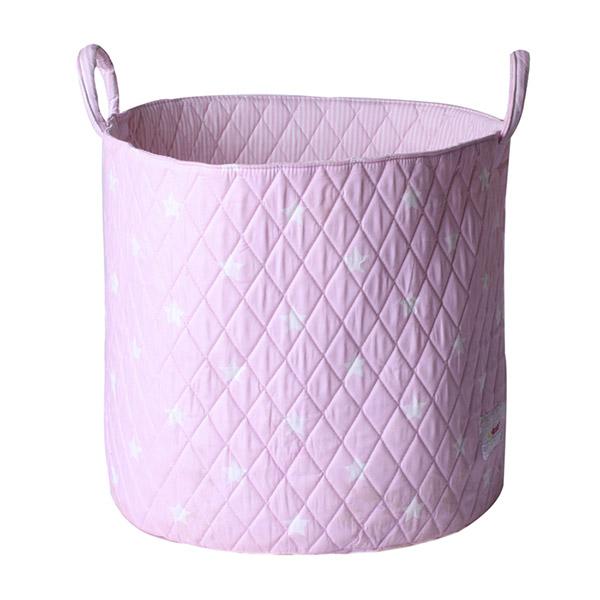 Grand panier de rangement rose pastel étoiles Bulle de bb