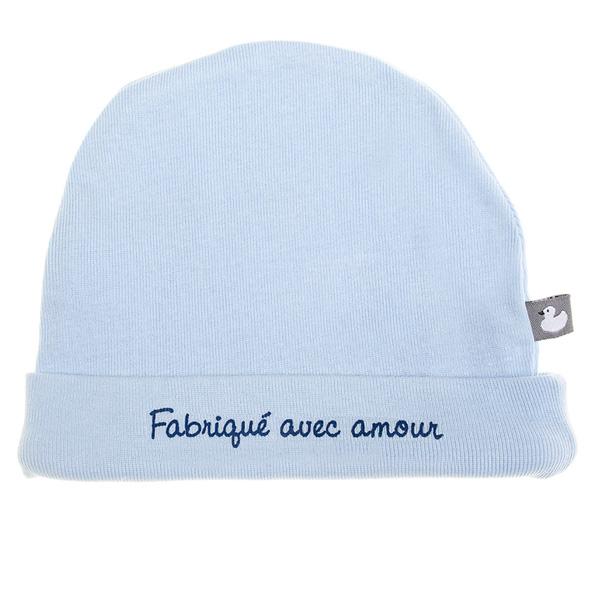 Bonnet bébé doublé pur coton fabriqué avec amour bleu ciel Bulle de bb