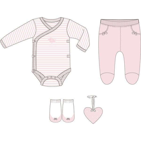 Boîte cadeau (body + pantalon + chaussettes + grigri coeur) rose Bulle de bb