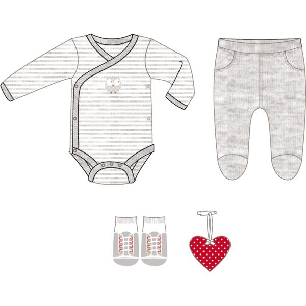 Boîte cadeau (body+pantalon+chaussettes+grigri coeur) gris Bulle de bb