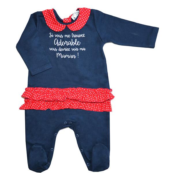 Pyjama à volant adorable marine et rouge Bulle de bb