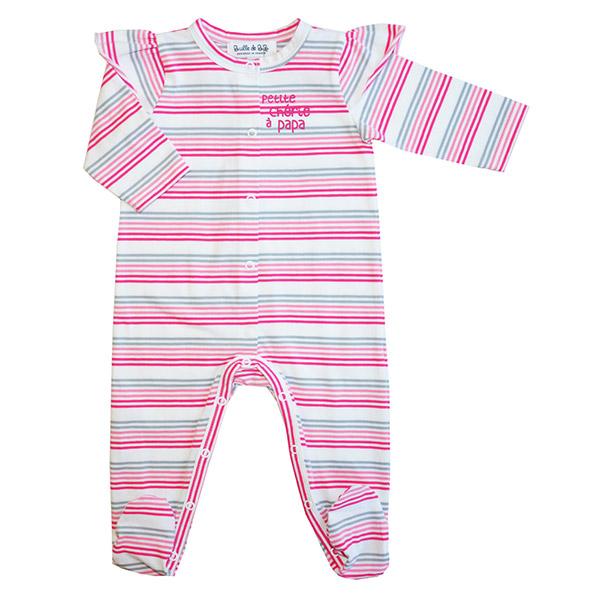 Pyjama petite chérie à papa rayé rose Bulle de bb