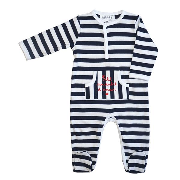 Pyjama concentré d'amour rayé marine Bulle de bb