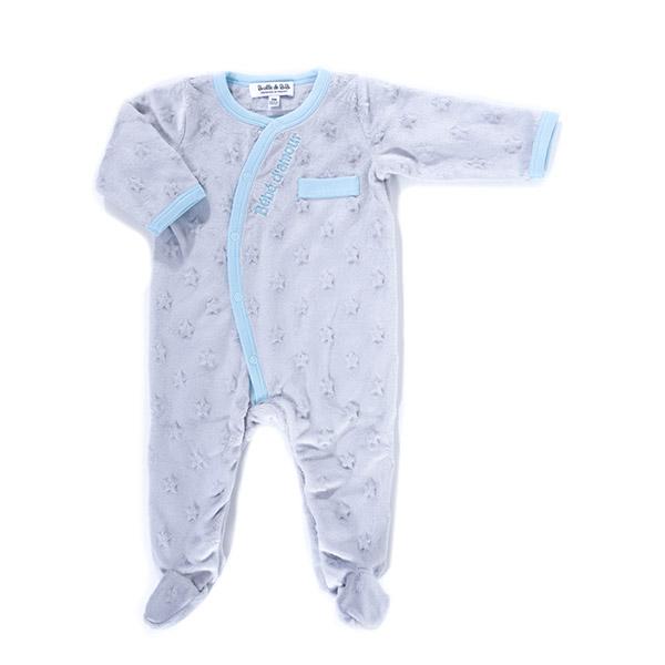 Pyjama bébé d'amour gris bleu Bulle de bb