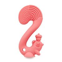 Anneau jouet de dentition ecureuil rose