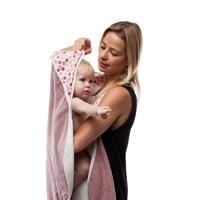 Sortie de bain bébé serviette papillon blanc/rose