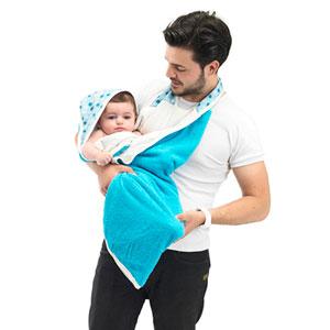 Sortie de bain bébé serviette papillon blanc/bleu