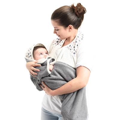 Sortie de bain bébé serviette papillon blanc/taupe Babytolove