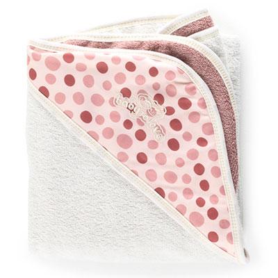 Sortie de bain bébé serviette papillon blanc/rose Babytolove