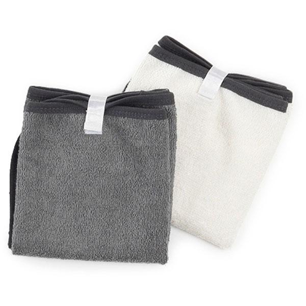 Lot de 2 serviettes à langer blanc / taupe Babytolove