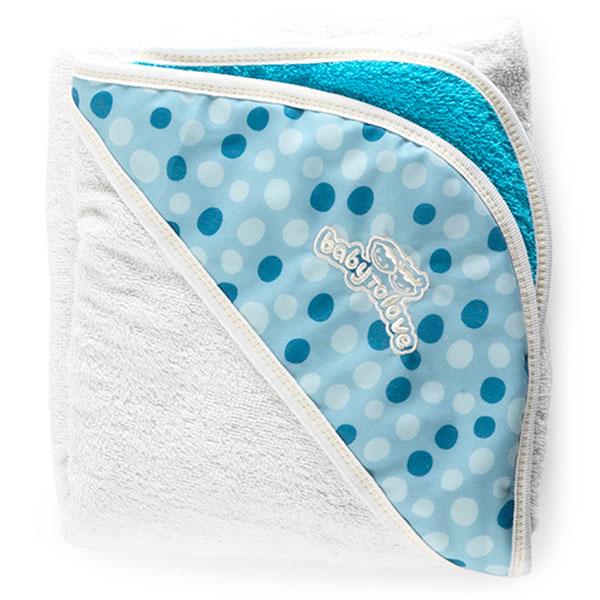 Sortie de bain bébé serviette papillon blanc/bleu Babytolove