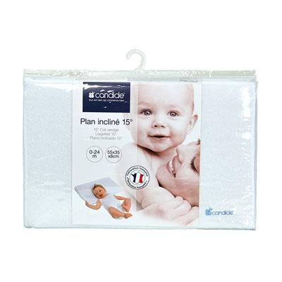 Plan incliné bébé 15° éponge déhoussable pour lit 60 x 120 Candide