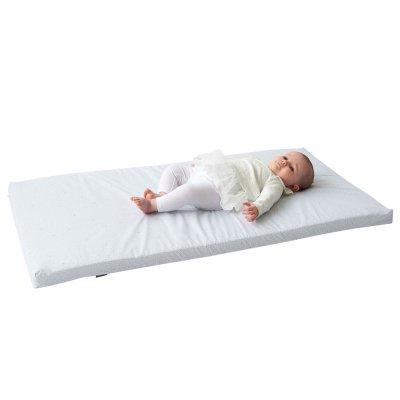 Matelas de voyage bébé polyester coton gris bleuté pois Candide