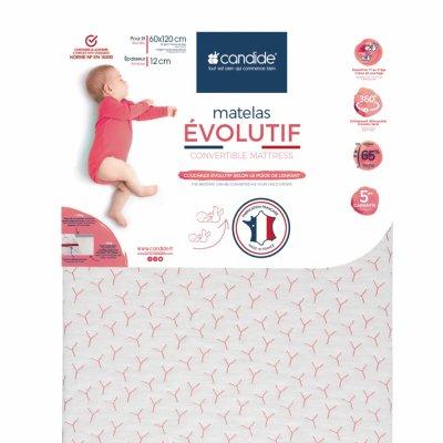Matelas bébé évolutif déhoussable 70 x 140 cm Candide