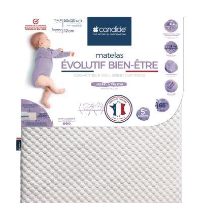 Matelas bébé evolutif bien être déhoussable 60x120cm Candide
