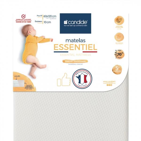 Matelas bébé essentiel déhoussable 60 x 120 cm Candide