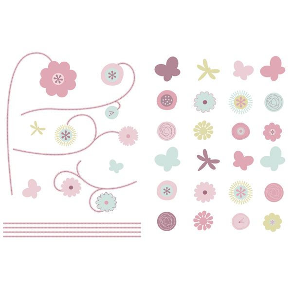 Stickers repositionnables jolie fleur Candide