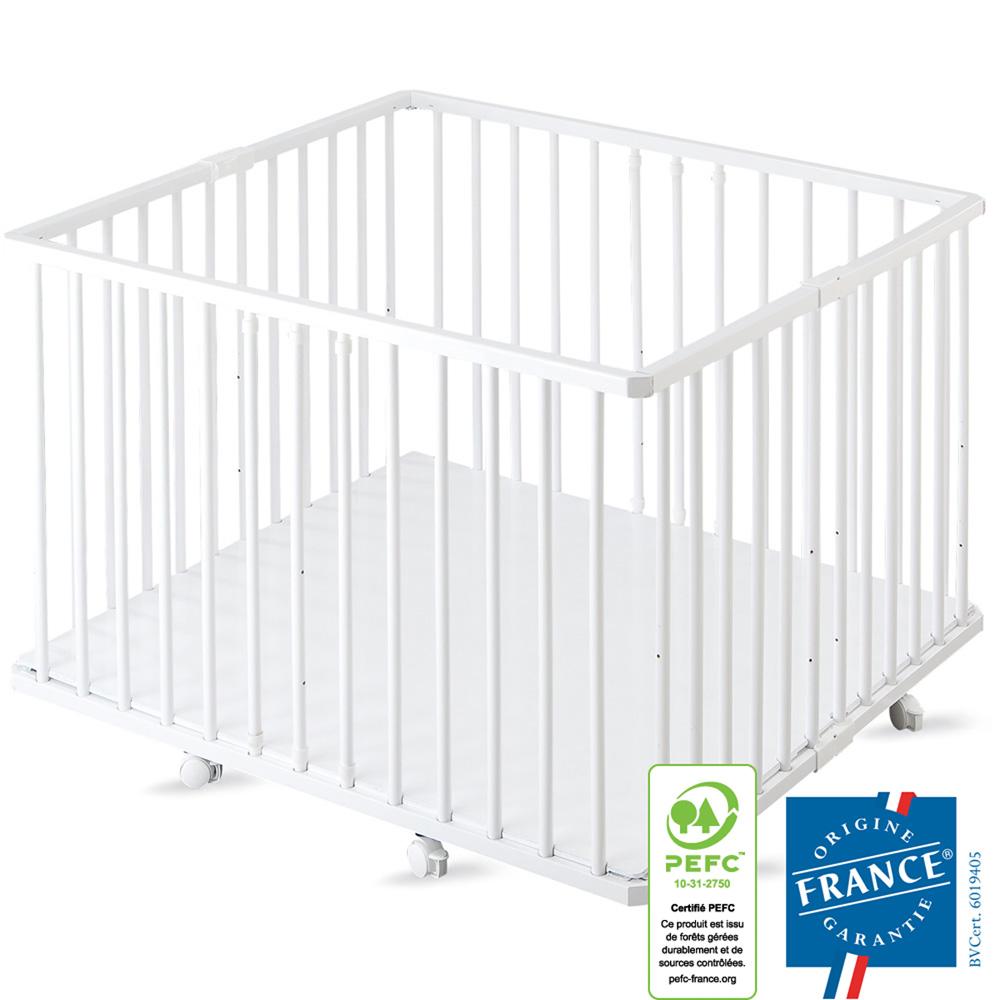 parc b b pliant a plancher gaby laque blanc de combelle sur allob b. Black Bedroom Furniture Sets. Home Design Ideas