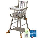 Chaise haute bébé transformable laqué gris