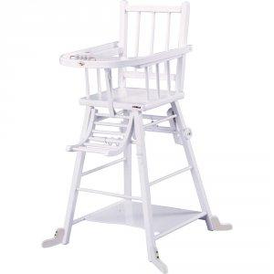Chaise haute bébé transformable laque blanc