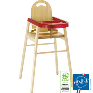 Chaise haute bébé lili dossier bois naturel