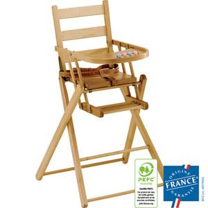 Chaise haute bébé extra-pliante dossier lattes galbees vernis