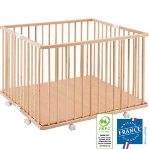 Parc bébé pliant a plancher gaby vernis naturel