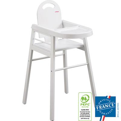 Chaise haute bébé lili blanc avec la tablette Combelle