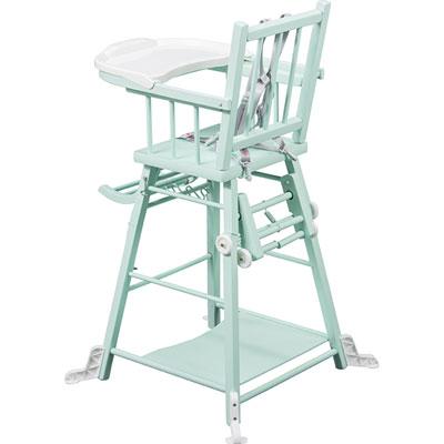 Chaise haute bébé transformable vert mint Combelle