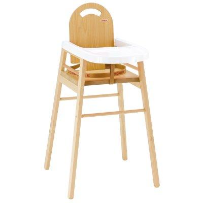 Chaise haute bébé lili bois naturel avec tablette blanc Combelle