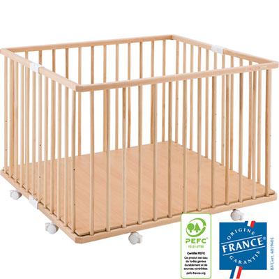 Parc bébé pliant a plancher gaby vernis naturel Combelle