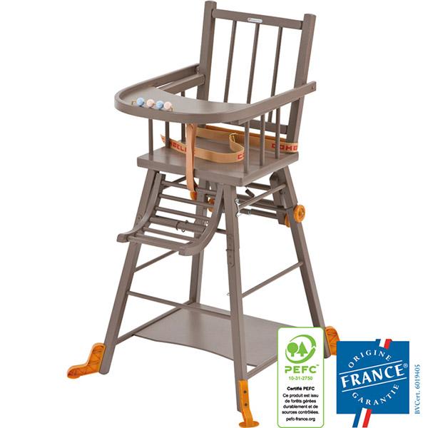 Chaise haute bébé transformable laqué taupe Combelle