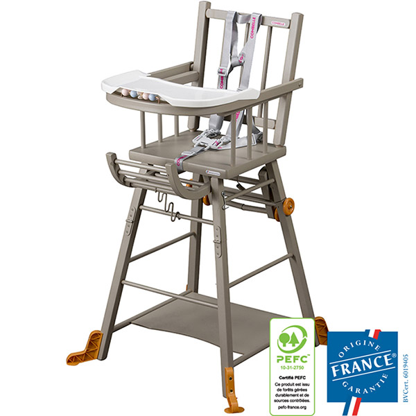 Chaise haute bébé transformable gris Combelle