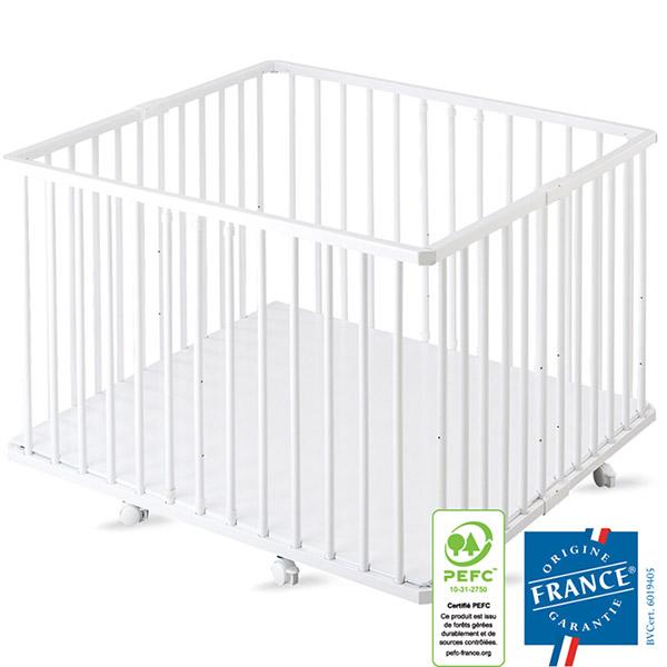 Parc bébé pliant a plancher gaby laque blanc Combelle