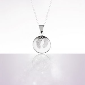 Cache coeur Bola de grossesse baby feet pieds poudre de diamant avec chaîne argent 925