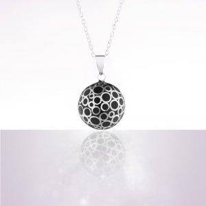 Bola de grossesse bulle noir avec chaîne argentée