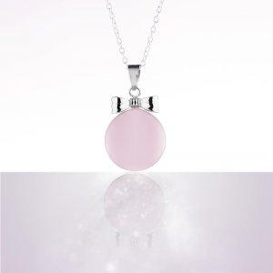 Bola de grossesse email rose noeud plaque rhodium avec chaîne argent