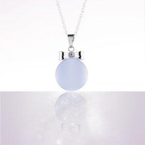 Bola de grossesse email bleu noeud plaque rhodium avec chaîne argent 925