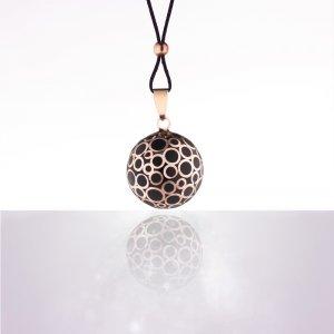 Bola de grossesse bulle or rose email noir avec cordon noir