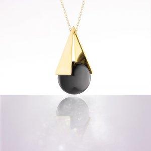 Bola de grossesse pyramide black rhodium triangle plaqué or chaîne argent 925