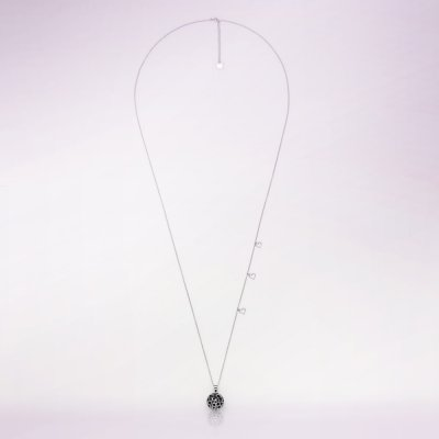 Bola de grossesse bulle noir avec chaîne argent 925 Cache coeur