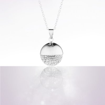 Bolas sphere chic rhodium crystal de swaroski chaine argent 925 Cache coeur