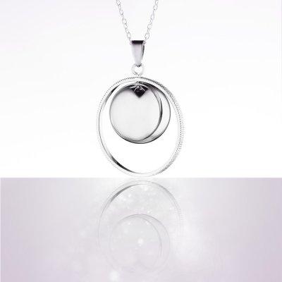 Bola de grossesse saturne plaque rhodium avec chaîne argent 925 Cache coeur