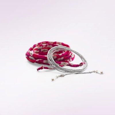 Cordon fleurs rouge et lurex argent pour bola de grossesse Cache coeur