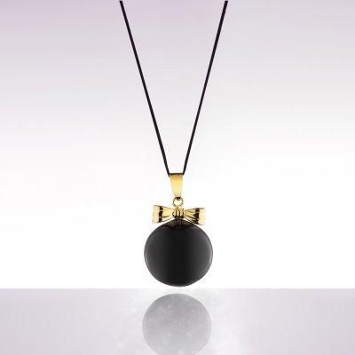 Bola de grossesse noir avec noeud plaqué doré et cordon noir Cache coeur