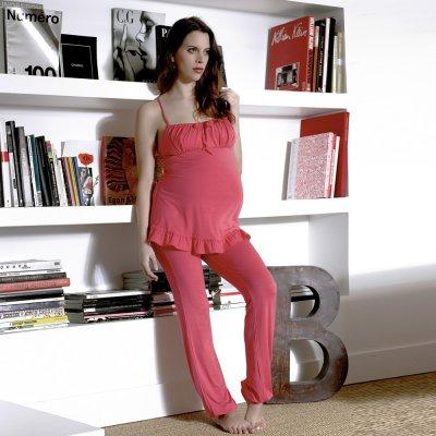 Pyjama de maternité et d'allaitement 2 pièces delicious grenadine Cache coeur